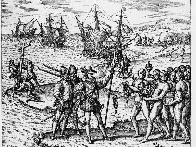 Gravura feita por Theodor de Bry mostra Cristóvão Colombo sendo recebido por indígenas