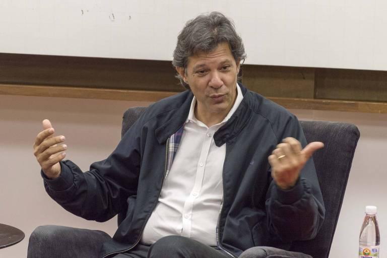 O ex-prefeito de São Paulo Fernando Haddad ministra palestra na Casa do Saber, em São Paulo (SP)