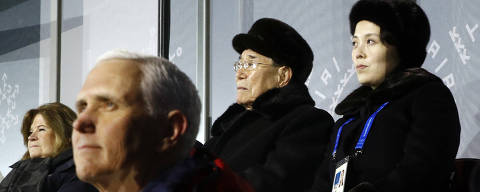 FILE - In this Feb. 9, 2018 file photo, Kim Yo Jong, top right, sister of North Korean leader Kim Jong Un, sits alongside North Korea's nominal head of state Kim Yong Nam, and behind U.S. Vice President Mike Pence as she watches the opening ceremony of the 2018 Winter Olympics in Pyeongchang, South Korea. North Korea, one of the most patriarchal of societies around, deployed Kim Yo Yong and singer Hyon Song Wol to spearhead its Olympic diplomacy campaign. The sister?s arrival generated a good deal of serious reporting, juxtaposed with the presence of Mike Pence and his wife. (AP Photo/Patrick Semansky, Pool) ORG XMIT: OLYCD502