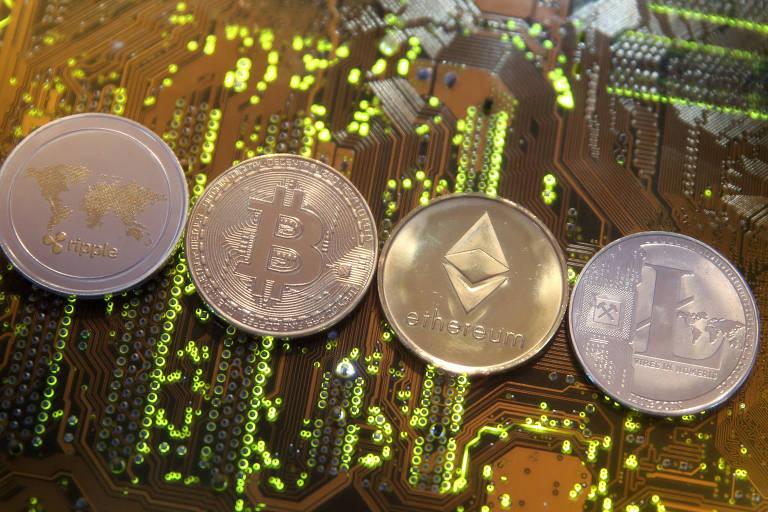 Representações das criptomoedas ripple, bitcoin, etherum e litecoin