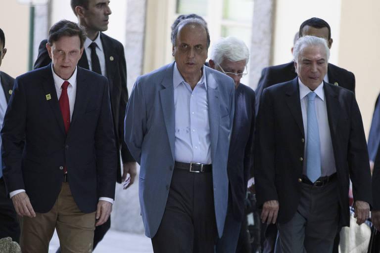 O prefeito do Rio Marcelo Crivella (PRB), o governador do estado Luiz Fernando Pezão (MDB) e o presidente Michel Temer (MDB)