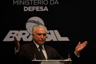 Brazil's President Michel Temer attends a ceremony in Itaguai Naval Complex, near Rio de Janeiro