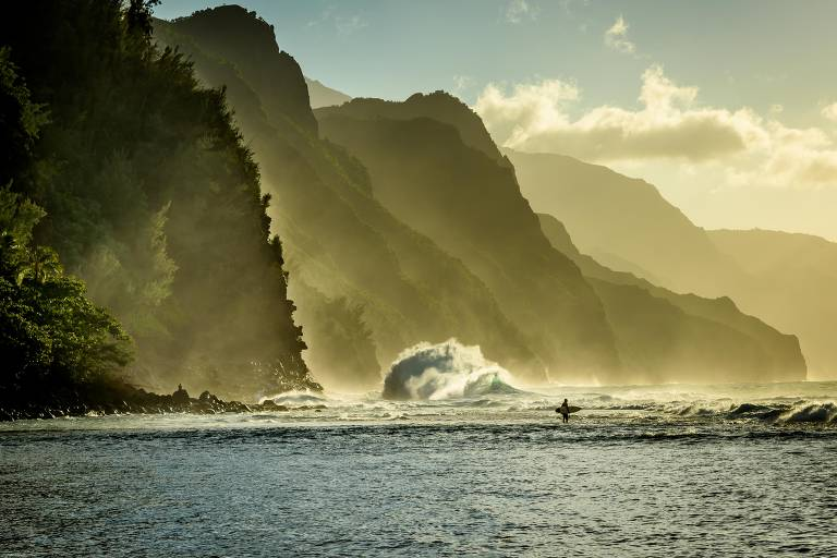 Praia na ilha de Kauai, no Havaí