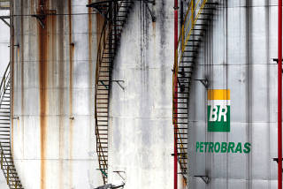 The logo of Brazil's state-run Petrobras oil company is seen on a tank in Cubatao
