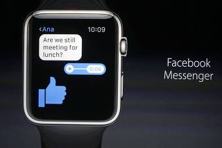 Jeff Williams, Apple's senior vice president of Operations, speaks about the Apple Watch and Facebook Messenger during an Apple media event in San Francisco