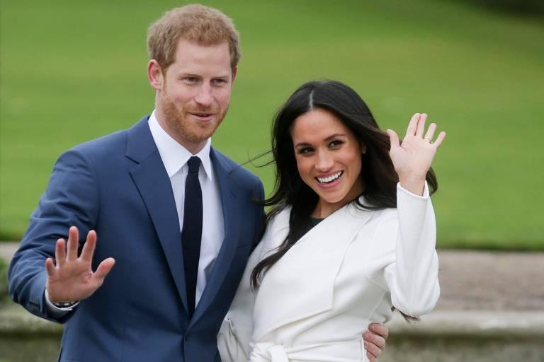 O príncipe Harry e a atriz americana Meghan Markle no Palácio de Kensington