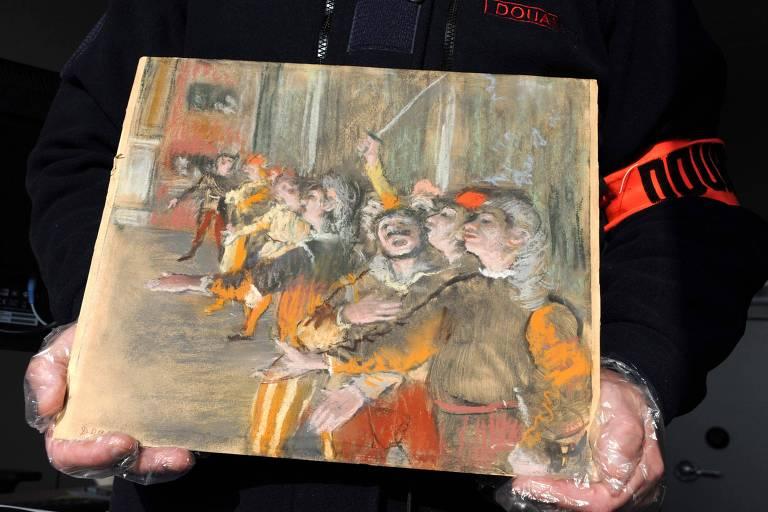 Quadro 'Les Figurants' de Edgar Degas (1834-1917) que foi encontrada nas proximidades de Paris