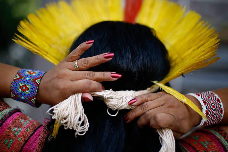 A líder indígena Sonia Guajajara, cotada a concorrer como vice-presidente na chapa do PSOL