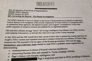 Print of a memo released by the Democratic minority on the U.S. House of Representatives Intelligence Committee is seen, in Washington