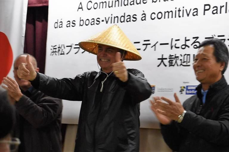 Jair Bolsonaro antes de começar seu discurso em Hamamatsu, no Japão