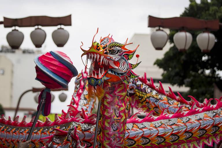 Comemoração do Ano Novo Chinês no bairro da Liberdade, em São Paulo