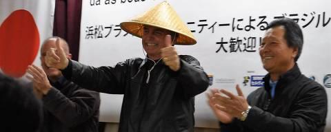 O deputado federal Jair Bolsonaro durante sua visita na cidade de Hamamatsu, no Japão