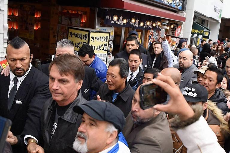 Deputado Jair Bolsonaro durante visita a Hamamatsu, no Japão, onde ele foi recebido pela comunidade brasileira neste domingo