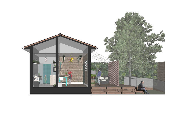 Na Casa Viva, projeto vencedor do Desafio Casa Sustentável de 2018, cisterna em forma de vaso armazena água de chuva para lavar áreas externas e molhar plantas