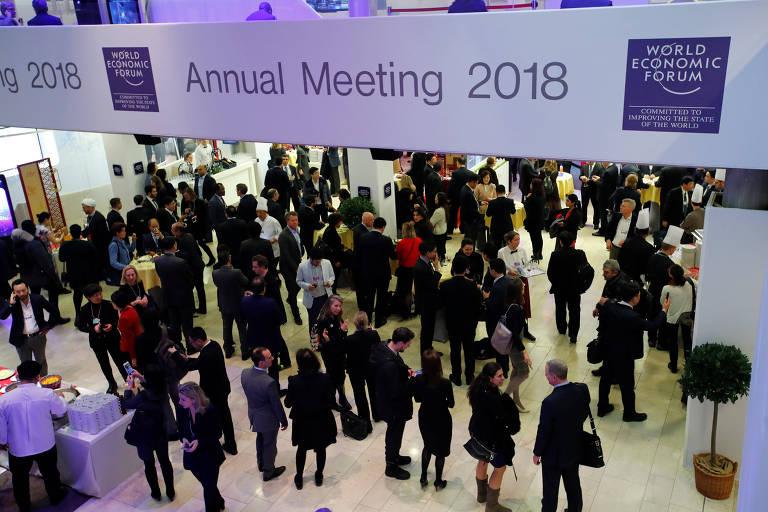 Participantes durante o Fórum Econômico Mundial em Davos, na Suíça