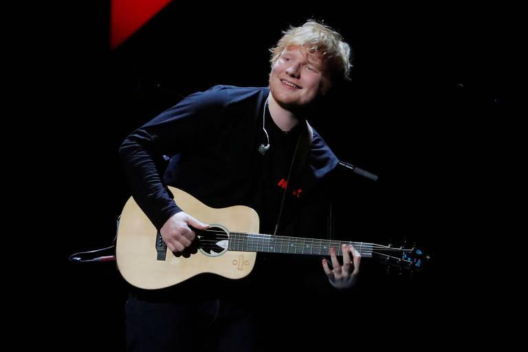 Ed Sheeran durante apresentação no Madison Square Garden, em Nova York