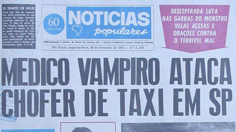 """Manchete do """"Notícias Populares"""" publicada em 26 de fevereiro de 1973"""