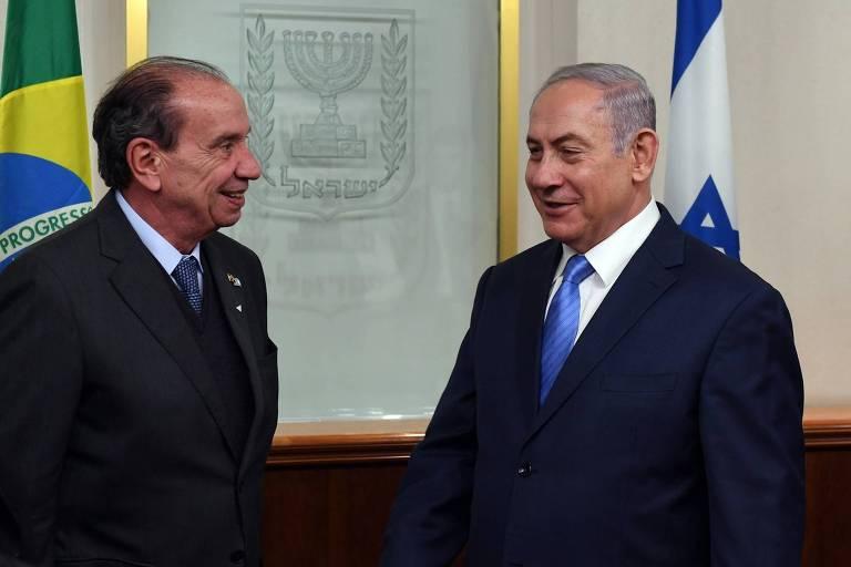 O ministro das Relações Exteriores do Brasil, Aloysio Nunes, se encontra com o premiê israelense Binyamin Netanhyahu em Jerusalém