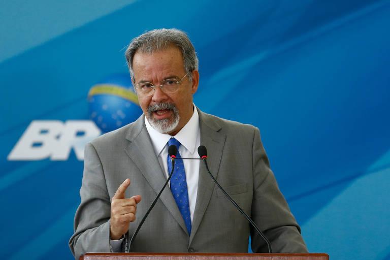 O ministro Raul Jungmann na cerimônia de posse no novo Ministério Extraordinário da Segurança Pública