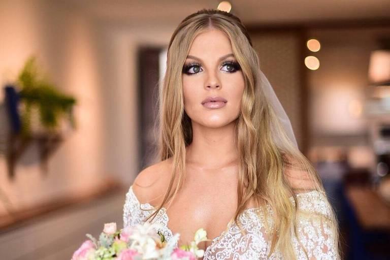 Luísa Sonza vestida de noiva para casamento com Whindersson Nunes