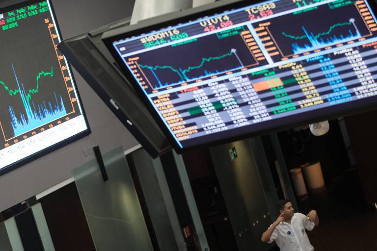 Gráfico das recentes flutuações dos índices de mercado no pregão da Bolsa de Valores de Sao Paulo