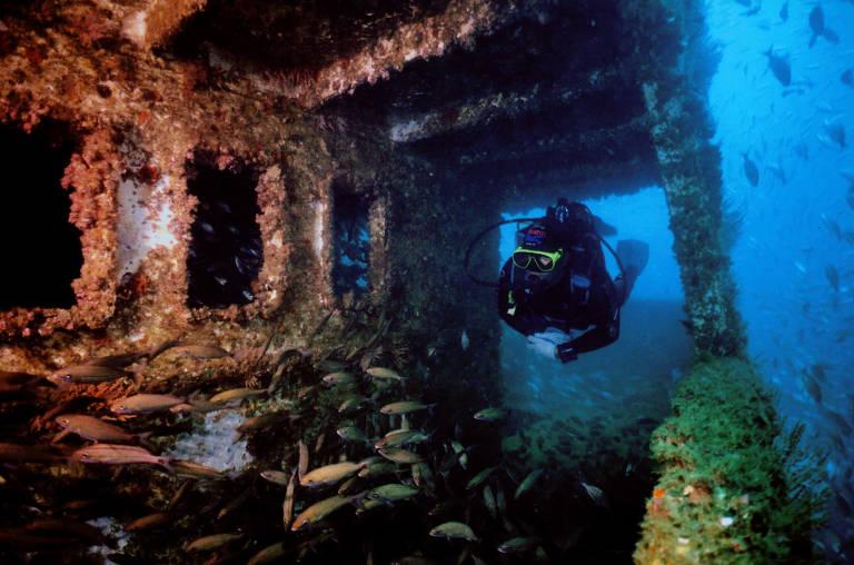 Mergulhador próximo a estrutura de navio naufragado em Guarapari (ES)