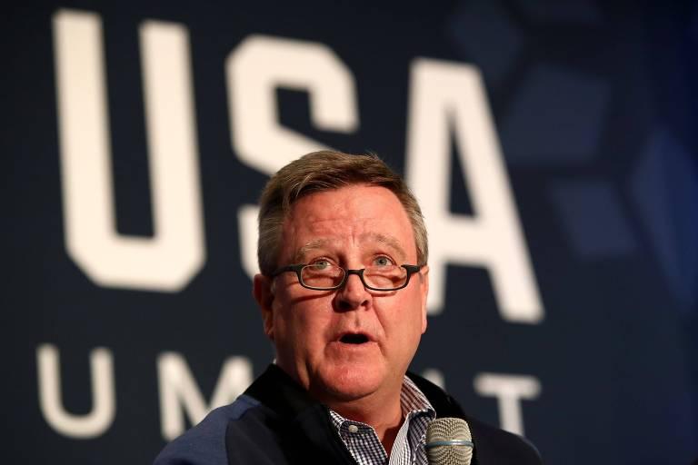 Scott Blackmun  durante encontro de mídia do Comitê Olímpico dos EUA