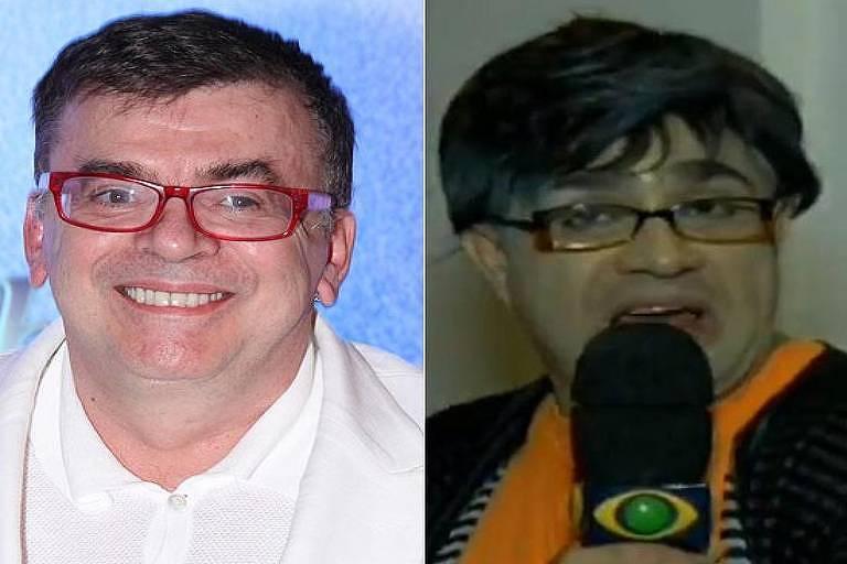 O autor de novelas Walcyr Carrasco e o personagem de Evandro Santos baseado nele, o Walcyr Churrasco