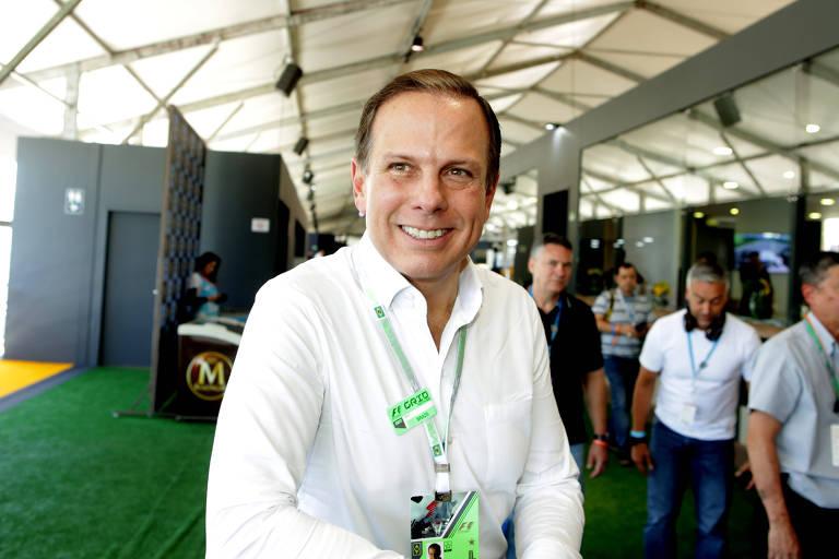 O prefeito de São Paulo, João Doria, durante o Grande Prêmio do Brasil de Formula 1 no autódromo de Interlagos, em São Paulo