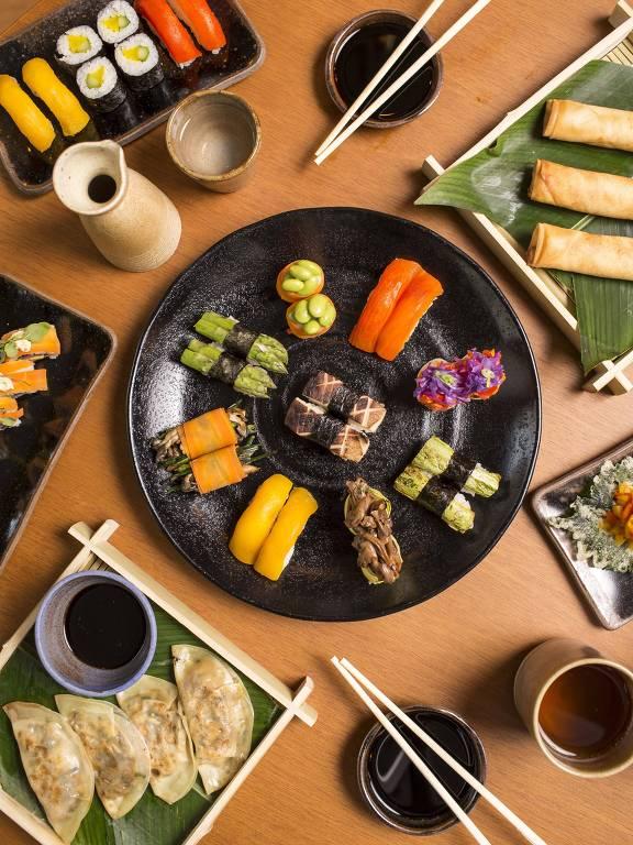 Pratos do novo Sushimar, com de sushis veganos