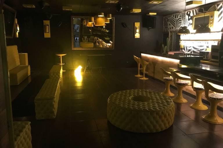 Ambiente do novo Subsolo 27, que mistura bar e balada, na galeria Metrópole