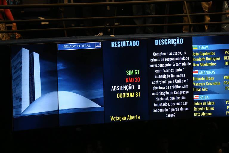 Resultado da votação final da sessão no Senado do julgamento do impeachment de Dilma Rousseff