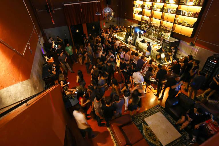 Ambiente do Clube V.U., na Barra Funda; casa promove sessões gratuitas de filmes