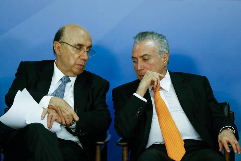 O presidente Michel Temer e o ministro da Fazenda, Henrique Meirelles