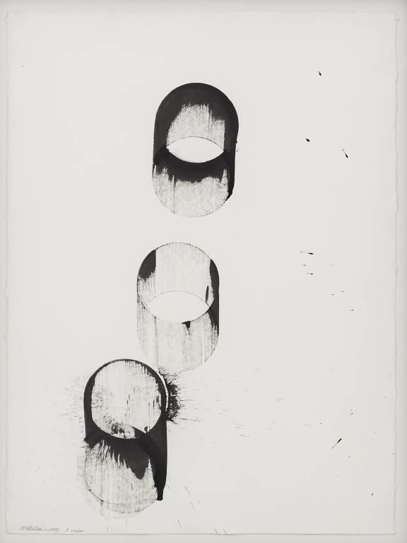 """Pintura """"3 Circles"""" (2017), uma das obras da exposição de Takesada Matsutani"""