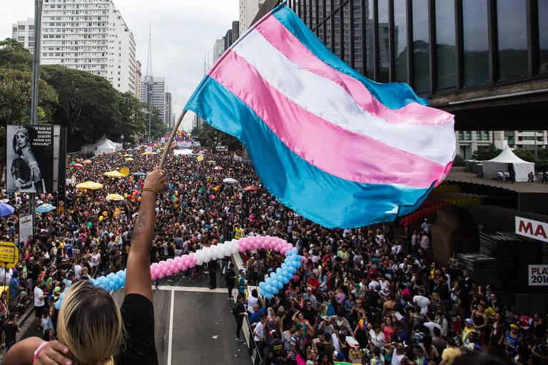 Bandeira nas cores azul, rosa e branca, do movimento T, diante de multidão na Parada Gay