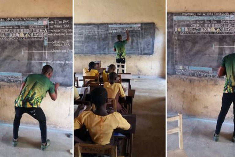 Professor Akoto, de Gana, desenhando na lousa o gráfico explicando um programa da Microsoft