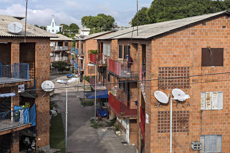 Casas do Prosamim no bairro Raiz, em Manaus