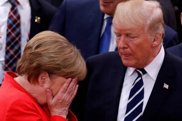 A chanceler alemã Angela Merkel e o presidente dos Estados Unidos, Donald Trump