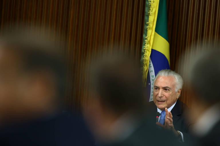O presidente Michel Temer durante reunião com governadores no Palácio do Planalto