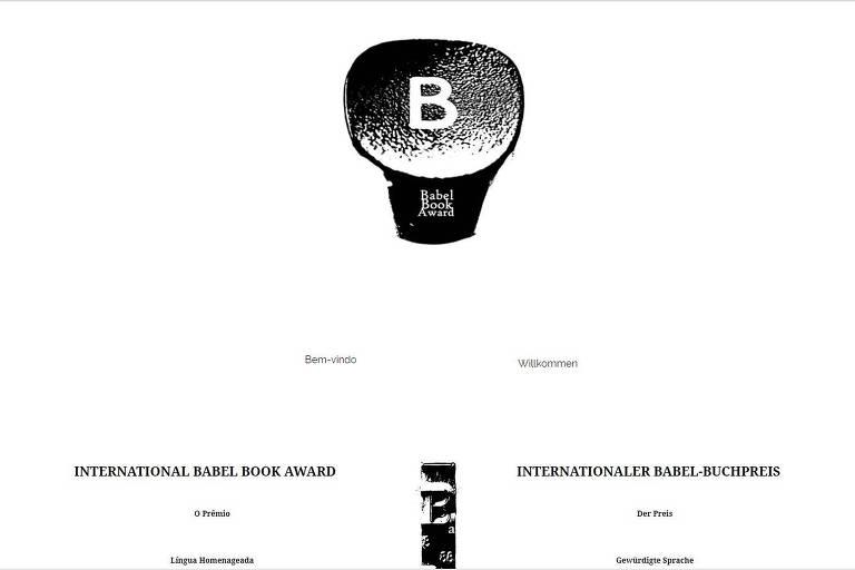 Reprodução do site do Babel Book Award, que levantou suspeitas entre escritores