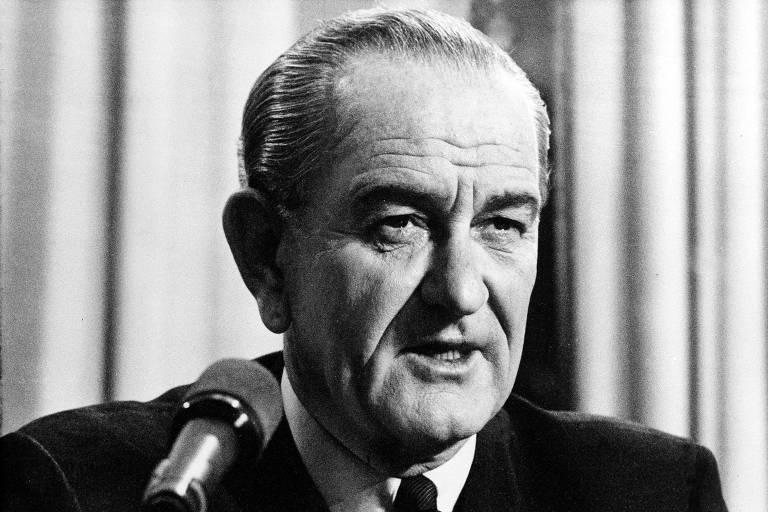 O presidente dos Estados Unidos, Lyndon Johnson, em março de 1968