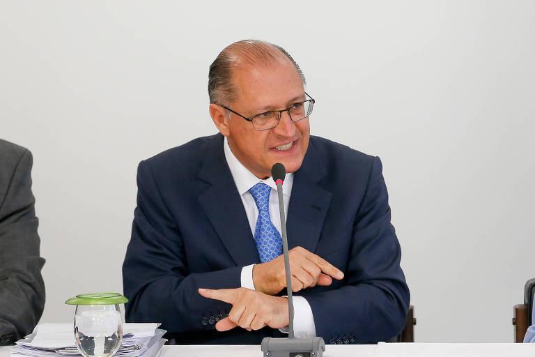 Governador Geraldo Alckmin em Brasília, durante assinatura de contrato de financiamento de obras em São Paulo