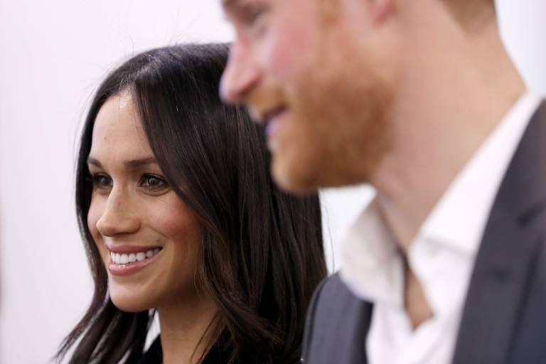 O príncipe Harry e a atriz americana Meghan Markle participam de evento do Fórum da Fundação Real em Londres