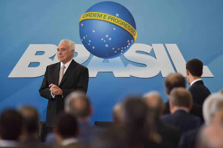 O presidente Michel Temer durante posse de Raul Jungmann no Ministério da Segurança Pública, no Palácio do Planalto