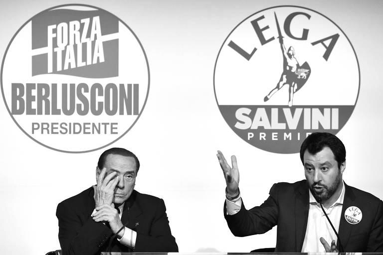 O ex-primeiro-ministro Silvio Berlusconi (à esq.) e o líder da Liga, Matteo Salvini (à dir.)
