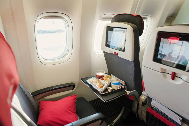 Alimentos servidos em bandeja de poltrona de avião, com almofada vermelha. O assento está ao lado da janela