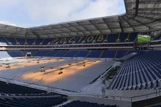 The Rostov Arena stadium, where matches of the 2018 FIFA World Cup will be hosted, is pictured under construction in Rostov-on-Don