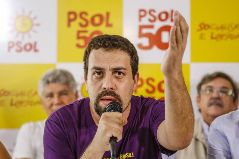 Ato de filiação de Guilherme Boulos ao PSOL na Fundação Lauro Campos, em São Paulo