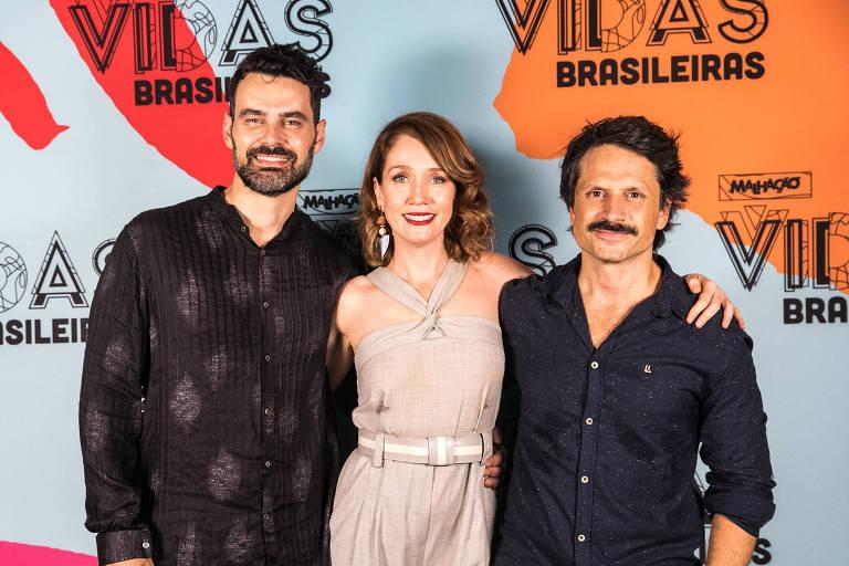 Carmo Dalla Vecchia, Camila Morgado e Felipe Rocha no lançamento de 'Malhação: Vidas Brasileiras'